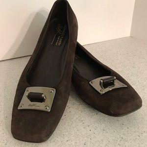 Brown suede flats with silver buckle details